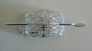 SALE-Filigree-Vintage-Hair-Clip-Pin-West-Germany-Light-Weight-Never-Worn-SilverD