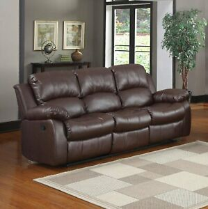 Details about Recliner 3-Seater Sofa Brown Over Stuffed Bonded Leather Sofa