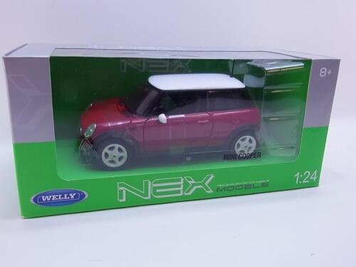 35197Welly 21540 MINI COOPER ROSSO-BIANCO DIE-CAST MODELLO DI AUTO 1:24 NUOVO OVP