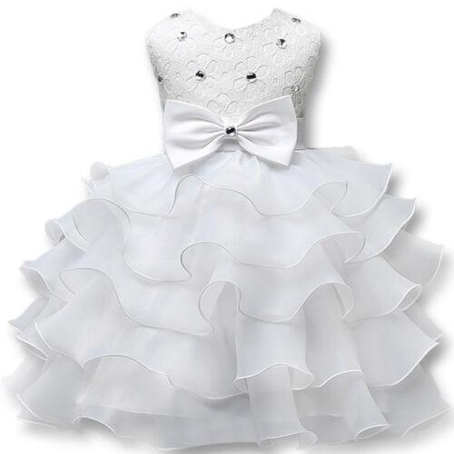 Baby Kid/'s Girl Princess Dress Wedding Bridesmaid Pageant Party Bow Tutu Dresses