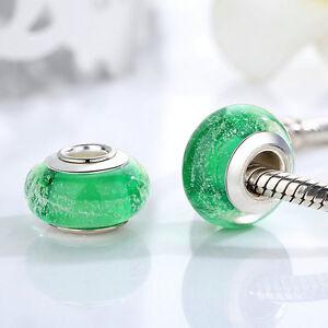 Dark-Green-Murano-Lampwork-Glass-Beads-Silver-For-European-Charm-Bracelet