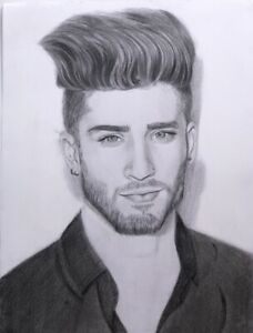Original Handmade Pencil Drawing Art A3 Zayn Malik Portrait Not Framed Ebay