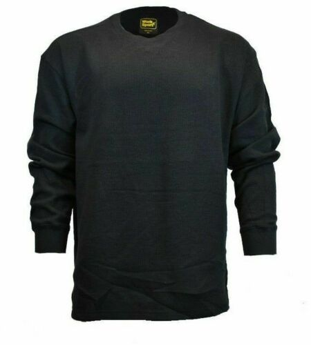 Mens Long Sleeve Thermal Crew Neck-Works n Sport/' BLACK Soft Fabric-Big Sizes.