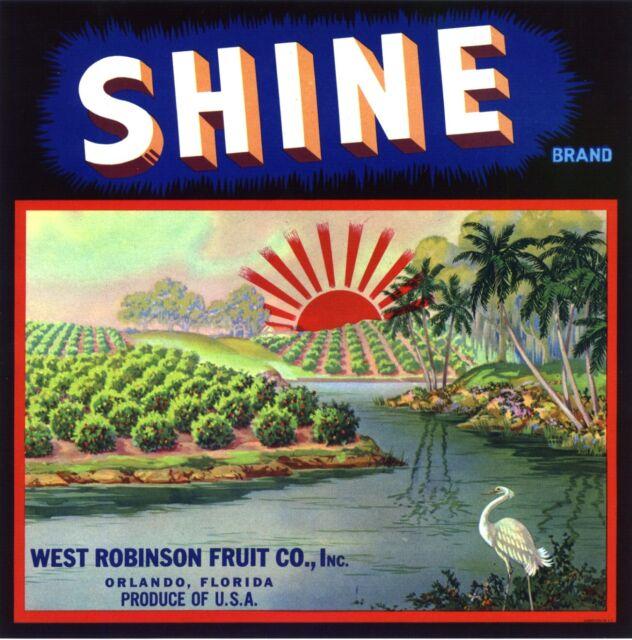A CITRUS CRATE LABEL FLORIDA SHINE RISING SUN ORLANDO ORIGINAL C1930 GENUINE
