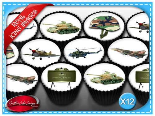 12 Army Theme Edible Icing Image Cupcake Topper Birthday Party Decoration