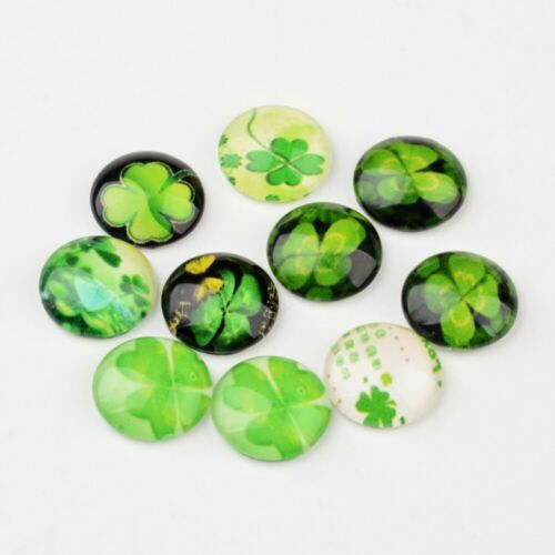 20Pcs 12mm Half Round//Dome Four Leaf Clover Glass Cabochons for Jewelry Making