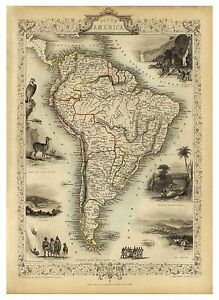 Old Vintage Map of South America richly illustrated Tallis 1851