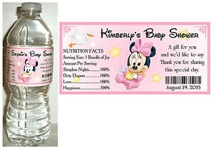 20 Baby Minnie Mouse Baby Shower Water Bottle Labels