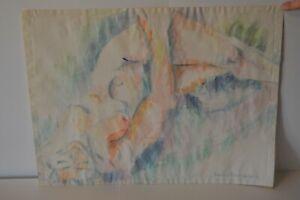 Original Drawing Art Signed Shirlee Benjamin Nude Woman  Watercolor Abstract