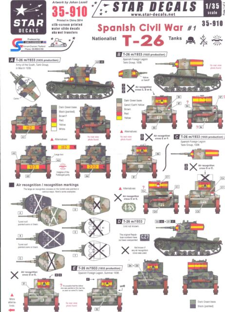 Star Decals 1/35 SPANISH CIVIL WAR NATIONALIST TANKS T-26 Tank