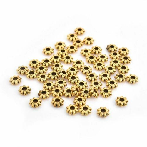 50Pcs Alloy Beads For DIY Jewelry Findings Antique Silver Gold Color Wholesale