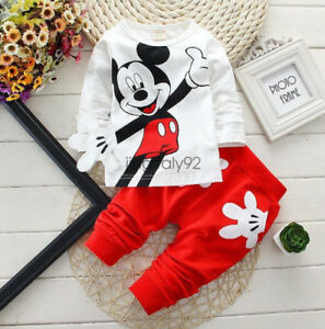 2pcs-Baby-Boys-Girls-Cotton-Mickey-Mouse-Clothes-T-shirt-Tops-Pant-Outfits-Set