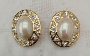 Vintage-Christian-Dior-Swarovski-Cristal-Declaracion-de-perlas-de-imitacion-pendientes-de-Clip-en