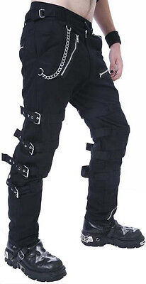 NEW DEAD THREADS BLACK BUCKLE ZIPS CHAINS STRAPS TROUSERS CYBER GOTH RAVE 30-38