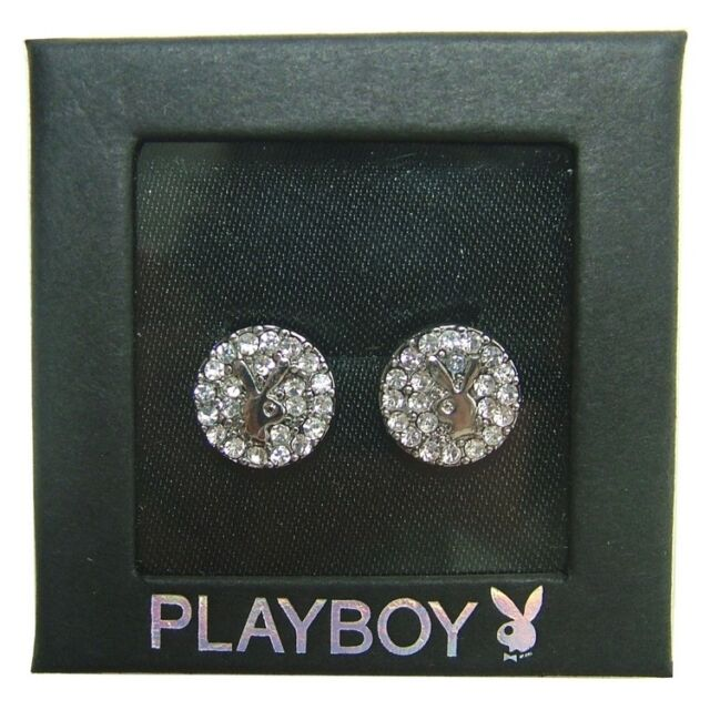 Playboy Earrings Ear Stud Silver Crystal Round Bunny Logo CZ Crystal Gem SUMMER