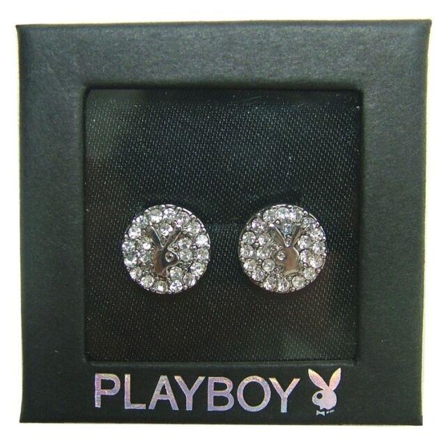 Playboy Earrings Ear Stud Silver Crystal Round Bunny Logo Gem Crystal GRADUATION