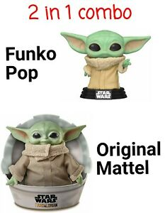 Star-Wars-The-Mandalorian-Baby-Yoda-The-Child-FUNKO-POP-amp-MATTEL-SET-NEW-GWD85