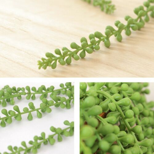 Artificial Succulent Ivy Leaf Plants String of Pearl Hanging Outdoor Home Decor~