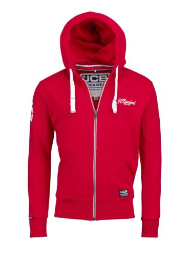 JCB Limited Edition Hoodie Red Work Hooded Jumper Sizes M-XL
