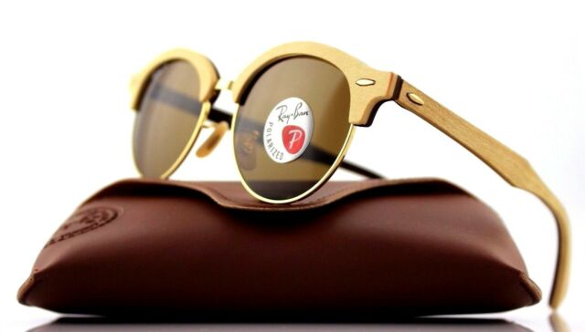 Ray-Ban Clubround Wood Men\'s Polarized Sunglasses with Gold Frame ...