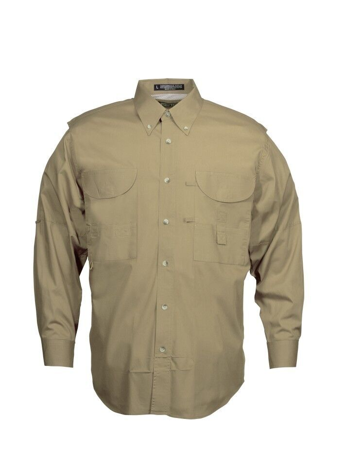 Tiger Hill Men's Fishing Shirt Long Sleeves Khaki