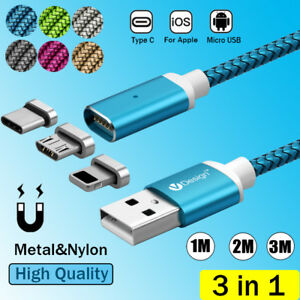 1-2-3M-3IN1-Magnetic-Type-C-IOS-Micro-USB-Charger-Charging-Cable-Magnet-Plug-Lot