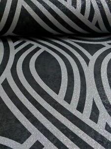 Carat-Geometrique-Paillette-Papier-Peint-Noir-amp-Argente-13345-30-Neuf