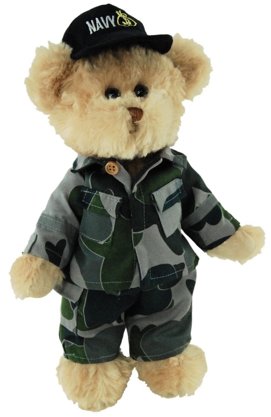 BNWT - TIC TOC TEDDIES SYDNEY THE  NAVY CAM BEAR  ARMY SOFT TOY 30CM 12INCH