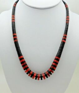 NATIVE-AMERICAN-SANTO-DOMINGO-HEISHI-JET-AND-CORAL-NECKLACE