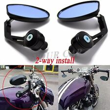 2 x CUSTOM UNIVERSAL BLACK BAR END MIRRORS FOR BUELL TRIUMPH APRILIA SHIVER 750