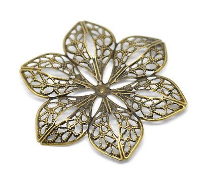 30 Création Connecteurs Fleur 6 Pétales Filigrane Couleur Bronze 6x5.3cm