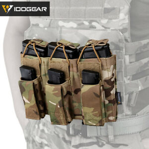 IDOGEAR-Tactical-Magazine-Pouch-Mag-Carrier-Triple-Open-Top-5-56-amp-Pistol-MOLLE