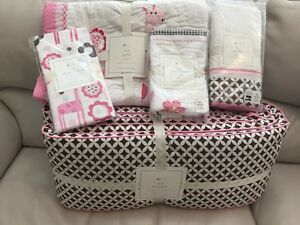 5pc Pottery Barn Kids Ava Nursery Crib Quilt Bumper Sheet