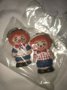 VTG-Raggedy-Ann-And-Andy-Small-Christmas-Holiday-Ornaments-Red-Blue