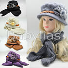 Womens Winter Hat Scarf Set Hoodie Beanie FLOWER Ear Warmer Knitted Cap