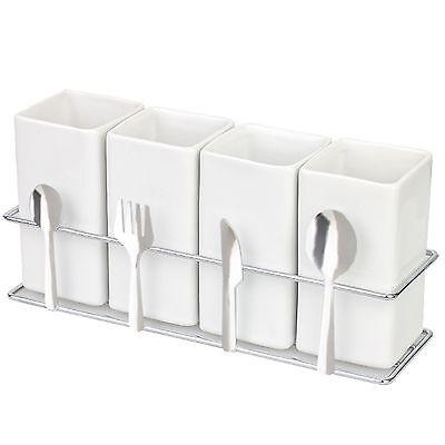 Spoon Rest Rack 4 Ceramic Organizer Fork Spoon Chopstick knife Holder White Set