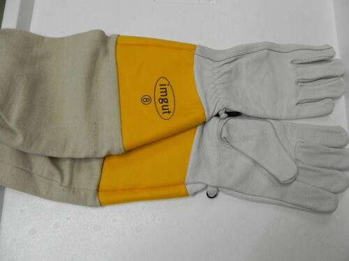 Schutz-Handschuhe Gr.8,gelbe Stulpe,Leder,Imkerei,Imker,bee,Schutzhandschuhe