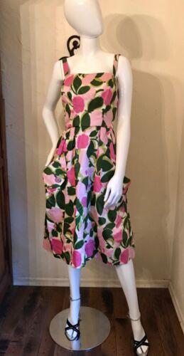 VINTAGE 1950's Bright Pink Floral Cotton Sateen Su