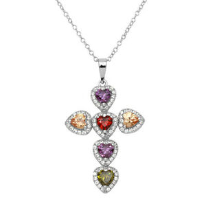 Plata-de-Ley-925-Corazon-Cruz-Colgante-Collar-con-Multi-Color-Gemas-45-7cm