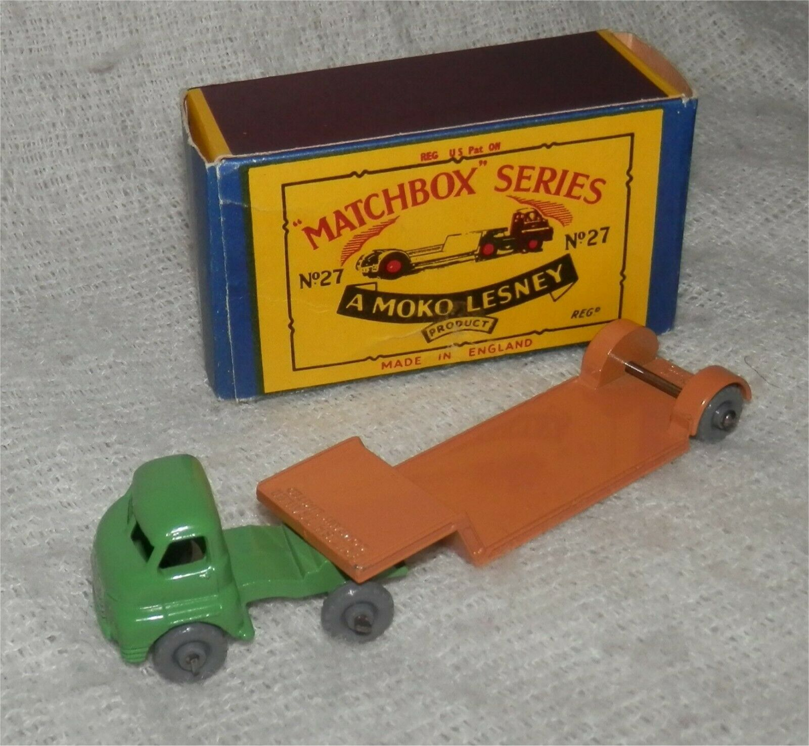 1960s.Matchbox Lesney 27 B Low Loader Larger Model GPW.Mint in box.All original