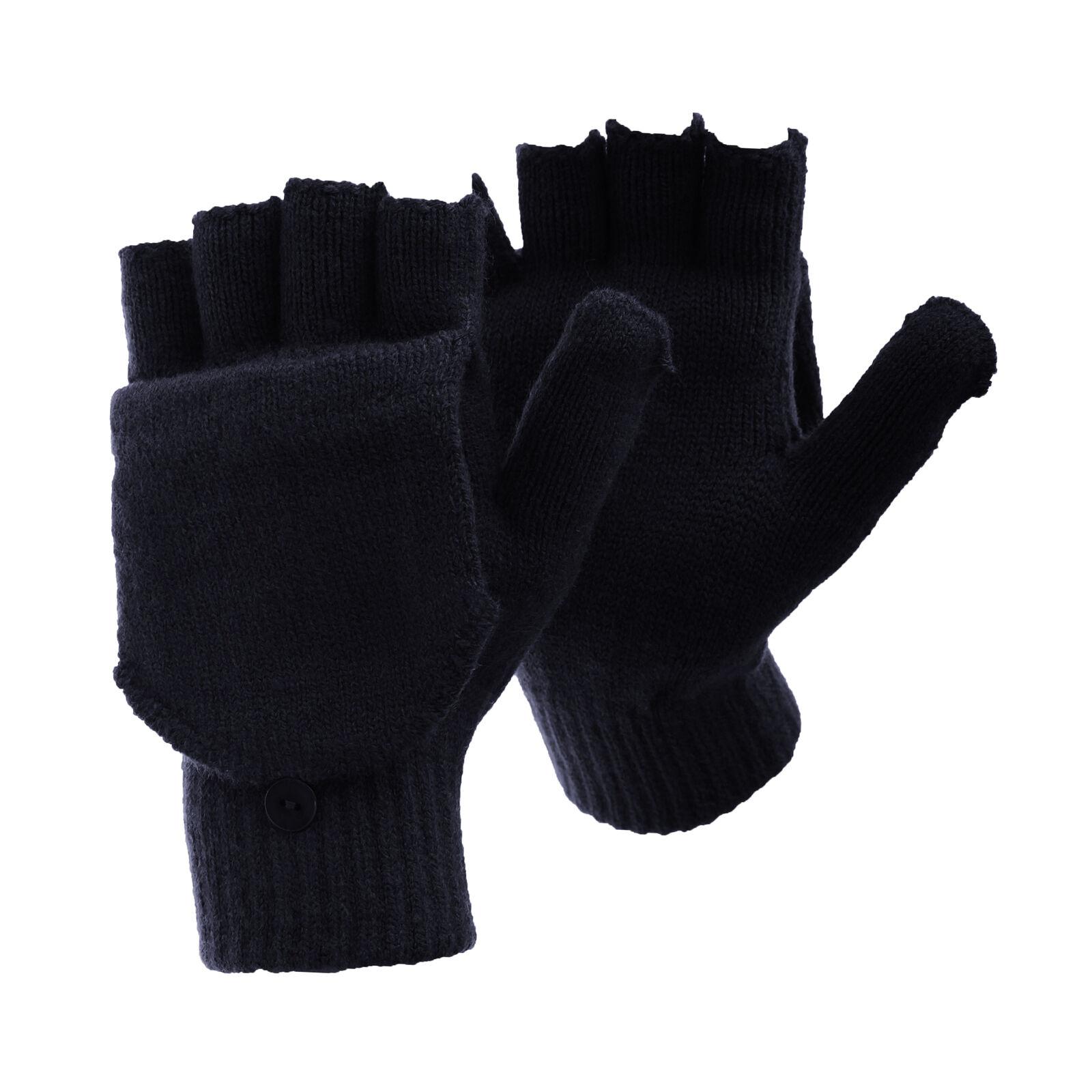 FLOSO Mens Plain Thermal Winter Capped Fingerless Gloves GL224