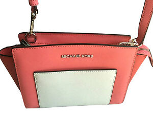 bd94255103a1 Image is loading MICHAEL-KORS-SELMA-POCKET-MEDIUM-MESSENGER-HANDBAG-Coral-