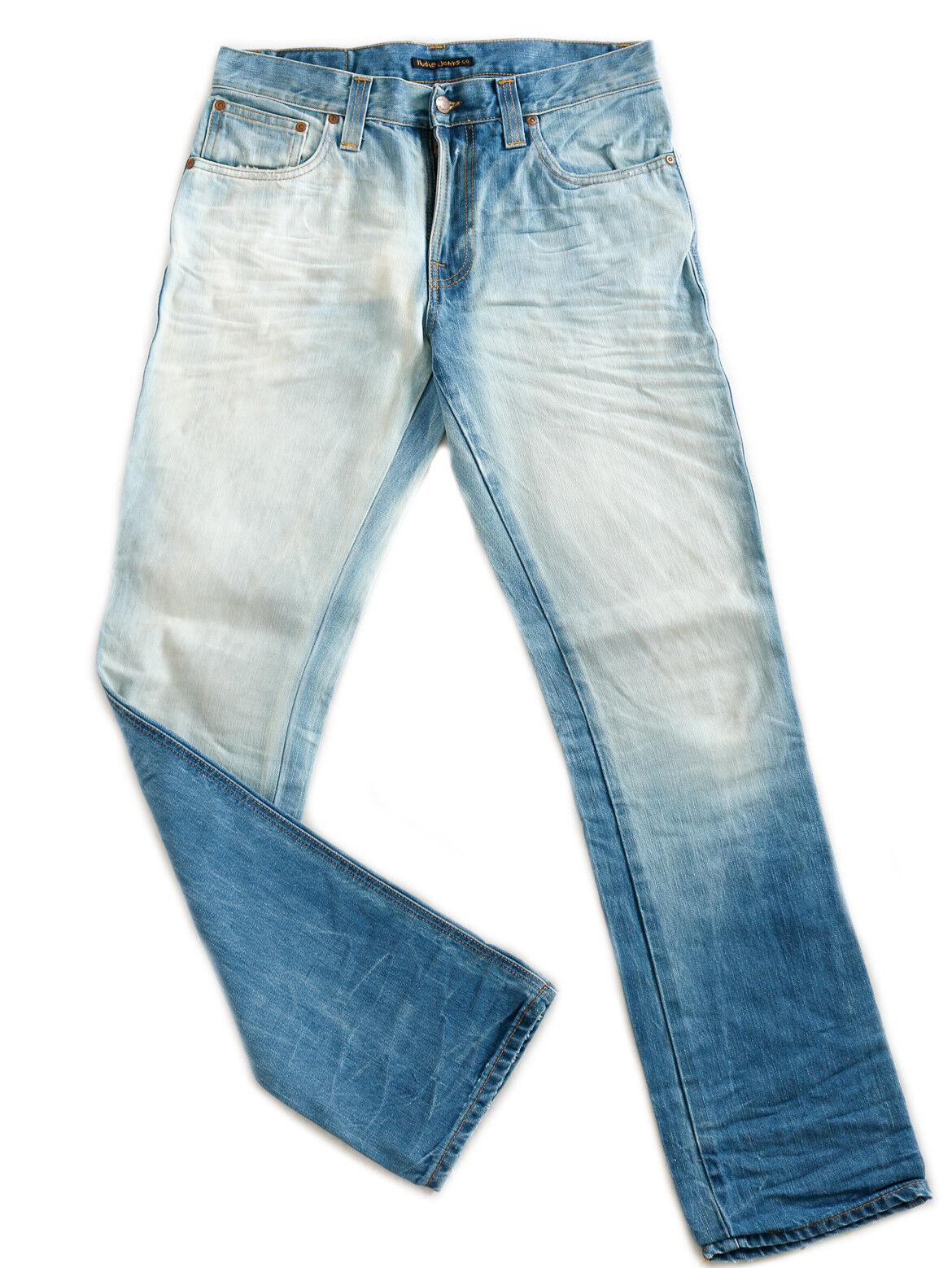 Nudie Men's Jeans Trousers Slim Jim Straight Fit bluee W32 W33 L34