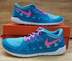 sneakers for cheap 7189b 9476b Details about Girls Nike Free 5.0 (GS) 644446-401 Blue Lagoon/Pink Pow NEW  Size 6Y