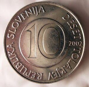 2002-Slovenie-10-Tolarjev-Uncommon-Haute-Qualite-Piece-de-Monnaie-Poubelle