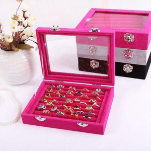New Rose Jewelry Ring Display Box Storage CaseEarring Organizer