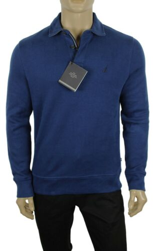 NEW MENS NAUTICA WINDWARD LONG SLEEVE BLUE CLASSIC FIT FRENCH RIBBED POLO XL $79