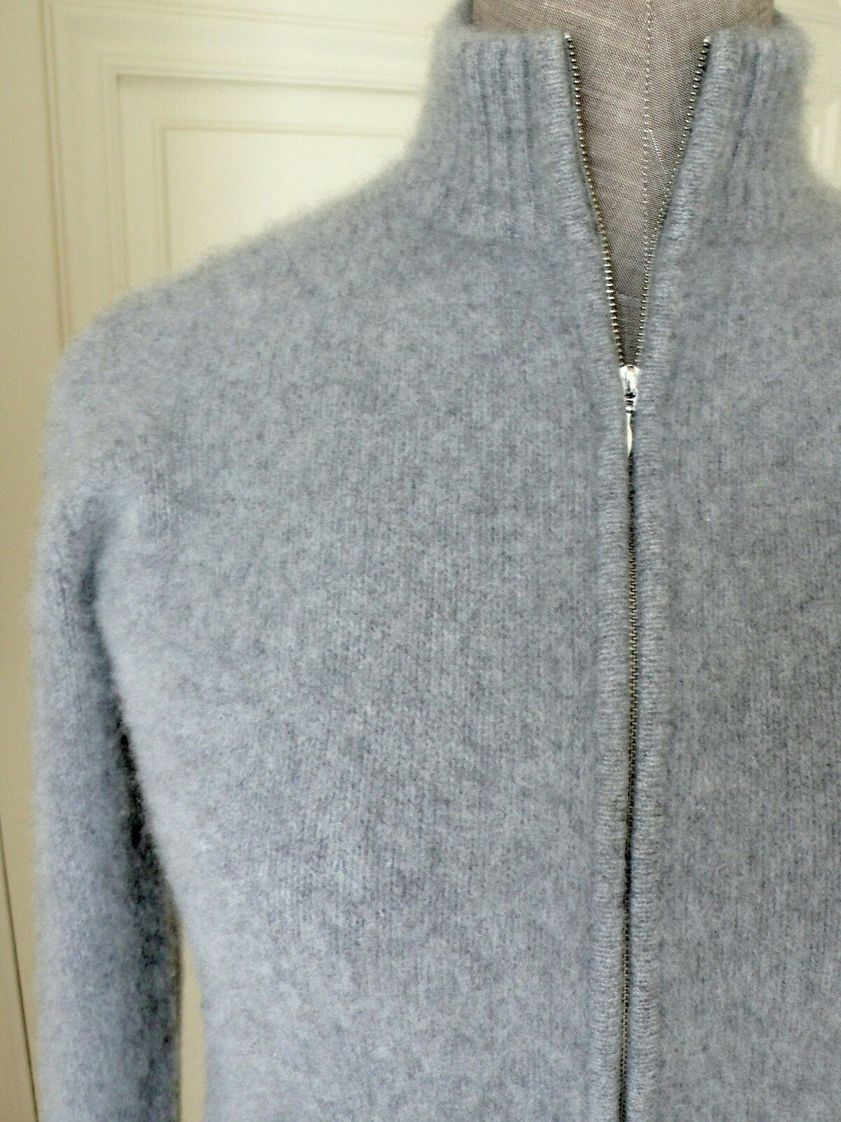 SAKS FIFTH FIFTH FIFTH AVENUE Heather-Grey 100%Heavy Cashmere FullZip-Front Sweater Jumper S e2304a