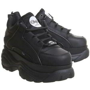 Buffalo-1339-14-Womens-Black-Leather-Chunky-Platform-Shoes-Trainers-Size-3-9