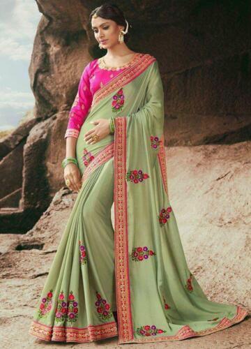 Green Pink Floral Emrboidered Bollywood Designer Saree Party Wear Indian Sari